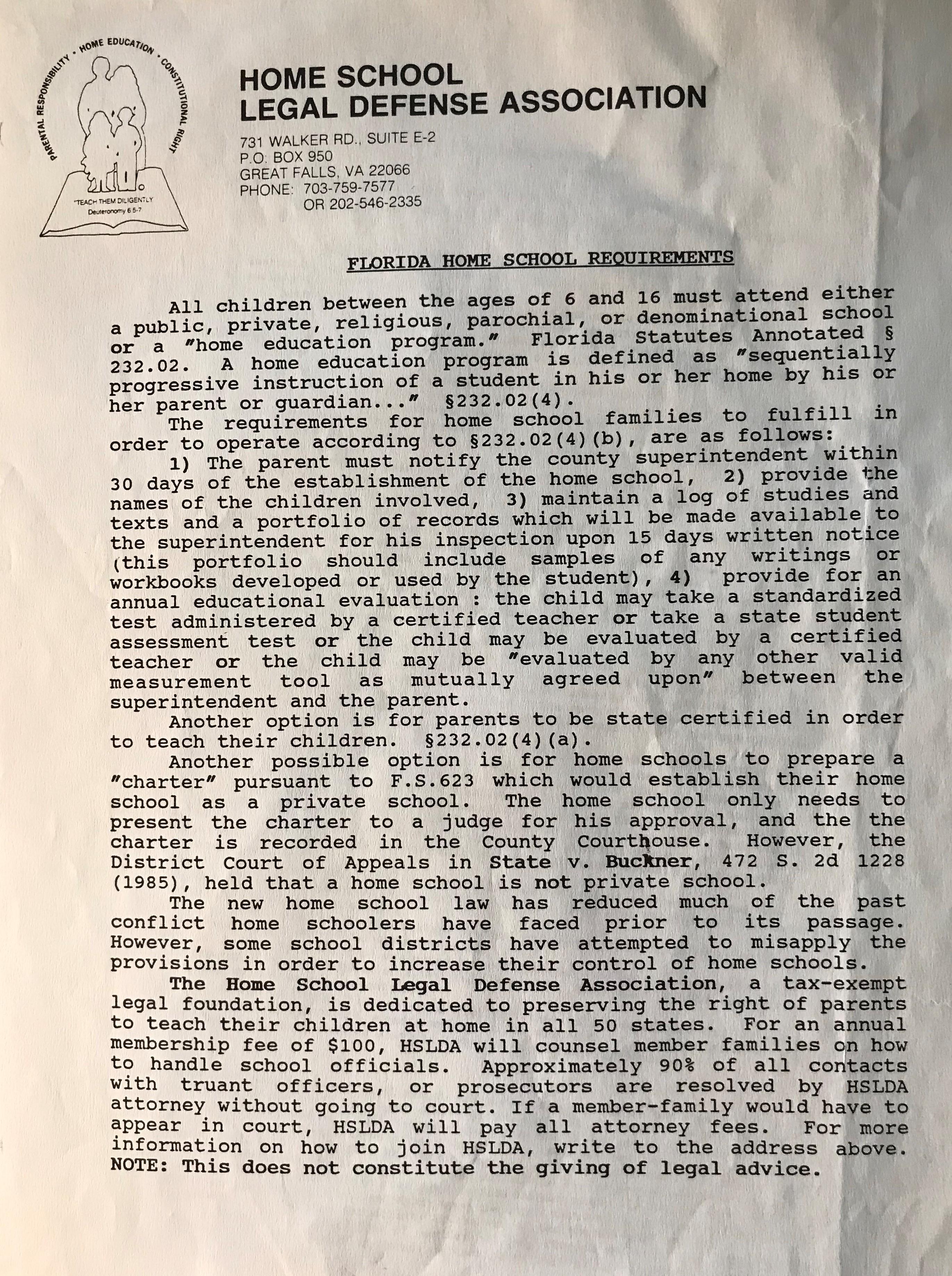 HSLDA Florida Home School Laws 1985